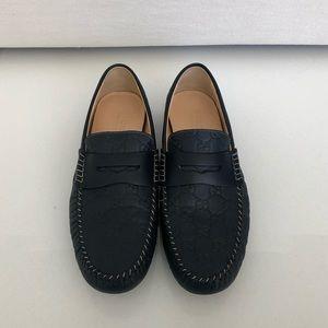 Gucci Blue Men's Leather GG Guccissima Loafer 10.5